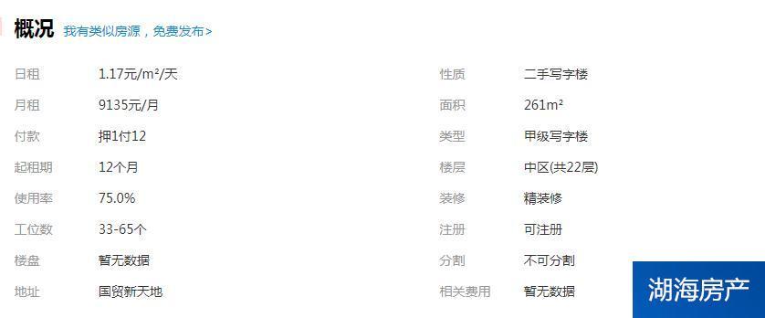 【金鳳區寫字樓】人民廣場旁-國貿新天地+261㎡- 精裝+玻璃高隔- 有鑰匙